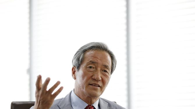 Former FIFA vice president Chung Mong-joon speaks during an interview with Reuters in Seoul