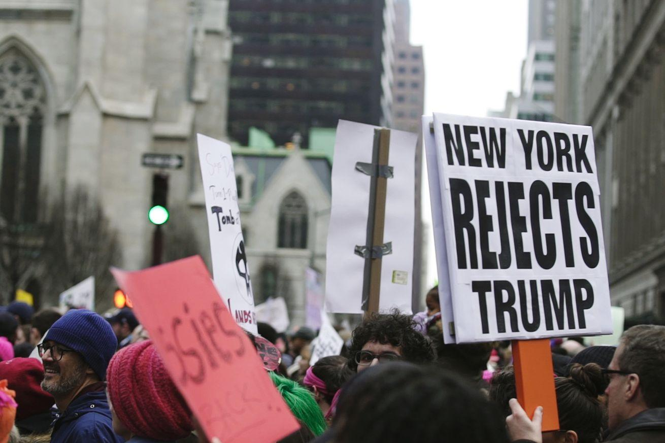 """""""He's not a real New Yorker"""": scenes from the Women's March in Trump's hometown"""