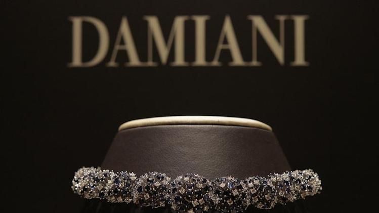 A Damiani necklace is pictured at the Damiani headquarters in Milan