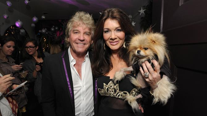 "IMAGE DISTRIBUTED FOR BRAVO - Ken Todd, left, Lisa Vanderpump, and their dog Giggy attend the premiere party for ""Vanderpump Rules"" at SUR restaurant, on Monday, Dec. 10, 2012 in Los Angeles. The show premieres on January 7, 2013 on Bravo.  (Photo by John Shearer/Invision for Bravo/ AP Images)"