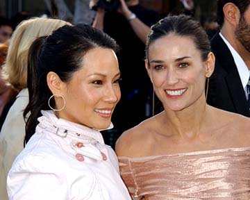 Premiere: Lucy Liu and Demi Moore smile it up at the Hollywood premiere of Warner Brothers' The Matrix: Reloaded - 5/7/2003