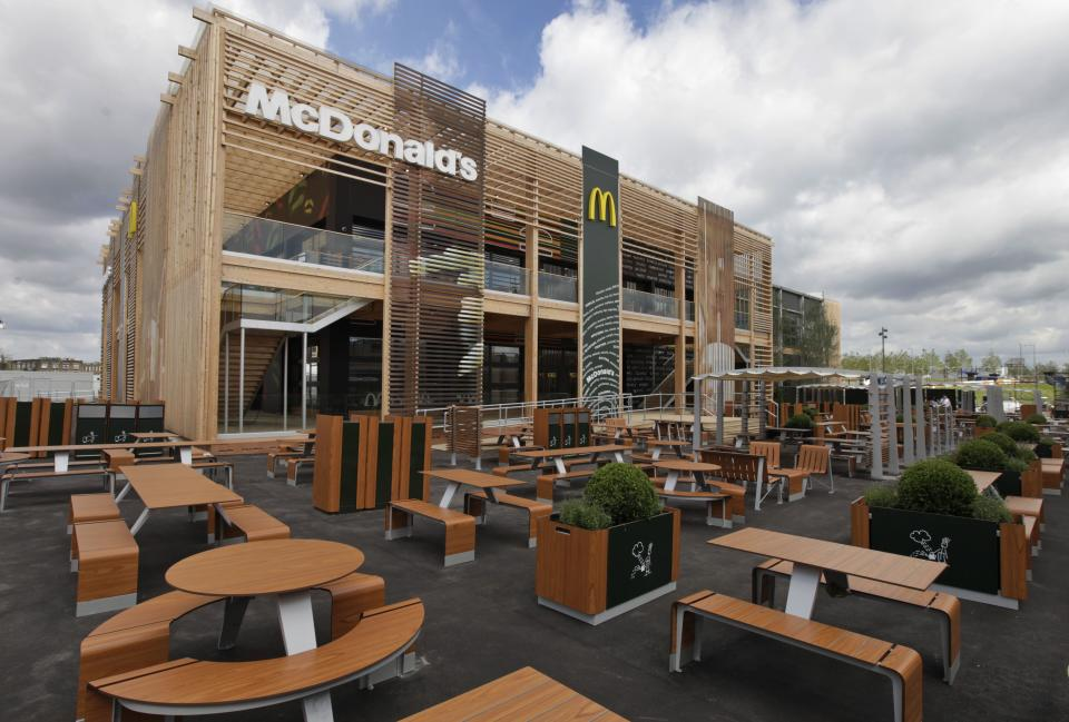 A view of the newly constructed McDonald's restaurant at the Olympic Park in east London, Monday, June 25, 2012. The restaurant is designed to be reusable and recyclable after the London 2012 Olympic and Paralympic Games. (AP Photo/Lefteris Pitarakis)