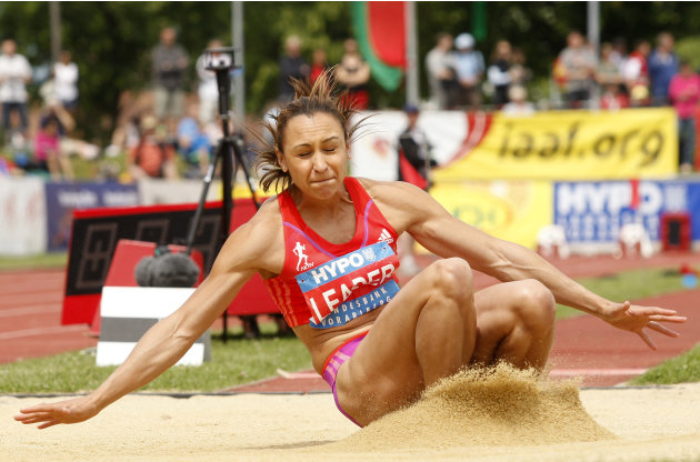 England's Jessica Ennis competes to won