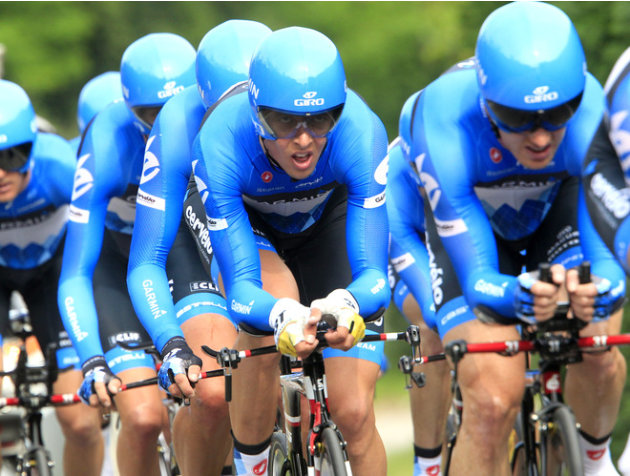 Lithuanian Rider Ramunas Navardauskas And Team Mates AFP/Getty Images
