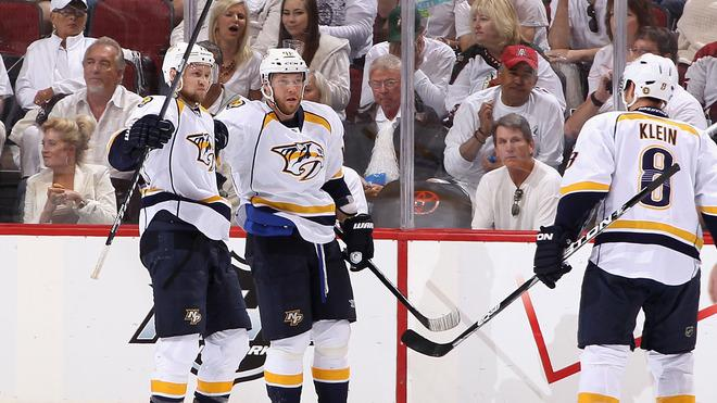 Andrei Kostitsyn #46 (2nd From Left) Of The Nashville Predators Celebrates Getty Images