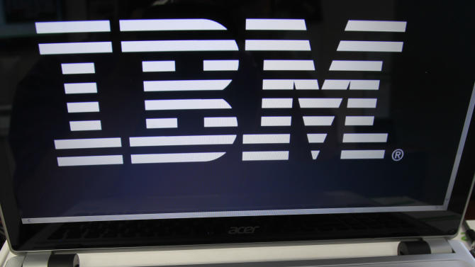 FILE - This Tuesday, July 16, 2013, file photo, shows an IBM logo in Berlin, Vt. IBM reports quarterly financial results after the market close on Wednesday, April 16, 2014. (AP Photo/Toby Talbot, File)