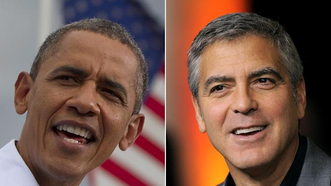 This photo combo made from file photos shows President Barack Obama, left, and actor George Clooney. Obama says Clooney is a good friend and a good person who is sensitive about protecting that friendship. The president tells Entertainment Tonight in an interview airing Monday, Aug. 20, 2012 that he got to know Clooney through his work on Sudan when Obama was in the U.S. Senate. (AP Photo)