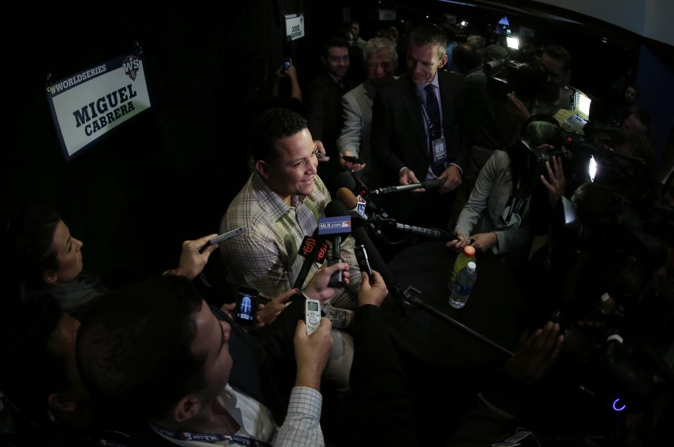 Detroit Tigers' Miguel Cabrera answers reporters questions before a workout for baseball's World Series Tuesday, Oct. 23, 2012, in San Francisco. The Tigers play the San Francisco Giants in Game 1 on Wednesday, Oct. 24. (AP Photo/Charlie Riedel)