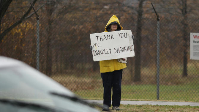 A demonstrator holds a sign in support of Army Pfc. Bradley Manning outside of Fort Meade, Md., Tuesday, Nov. 27, 2012, where Manning is scheduled to appear for a pretrial hearing. Manning is accused of sending hundreds of thousands of classified Iraq and Afghanistan war logs and more than 250,000 diplomatic cables to the secret-spilling website WikiLeaks while he was working as an intelligence analyst in Baghdad in 2009 and 2010.  (AP Photo/Patrick Semansky)