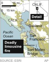 Map locates a deadly limousine fire near San Francisco