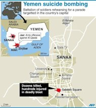 Detailed map of Sanaa, Yemen's capital city, where a suicide bombing claimed nearly 100 lives