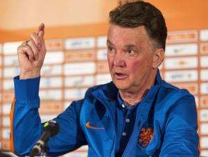 The Netherlands coach Louis van Gaal reacts during a news conference in Hoenderloo
