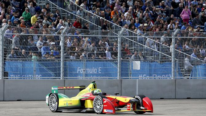 First placed Audi Sport ABT driver Di Grassi of Brazil drives his car during the Formula E Championship race in Berlin