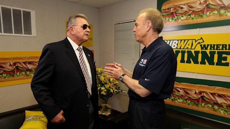 ESPN analyst Mike Ditka and Hall of Famer Roger Staubach stop by the Subway Fresh Take Green Room before heading on the set of ESPN's Mike & Mike in the Morning for Super Week in New Orleans on Friday, Feb. 1, 2013. (Photo by Barry Brecheisen/Invision for SUBWAY/AP Images)