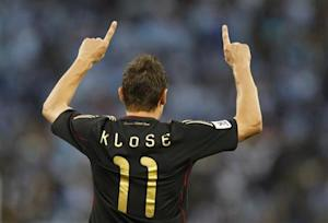 Germany's Miroslav Klose celebrates his goal during the 2010 World Cup quarter-final soccer match against Argentina at Green Point stadium in Cape Town