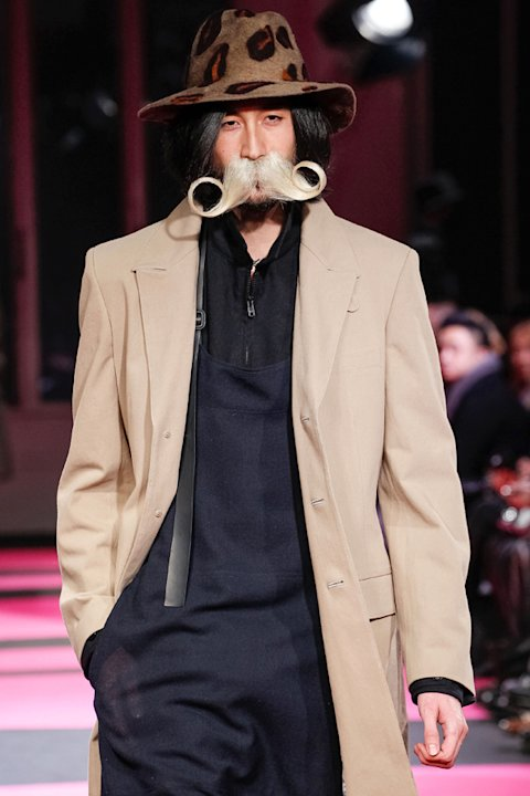 Yohji Yamamoto sent models down the runway with weird and wonderful facial hair ©Rex