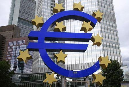 Structure showing the Euro currency sign is seen in front of the ECB headquarters in Frankfurt