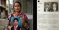 This combination picture taken on September 12, shows Indian women Ranjana Singh (left) posing with a photograph of her missing child Saket Kumar, while Pinky and Dinesh Kumar Singh (right) posing with a photograph of their missing child Shivam Singh