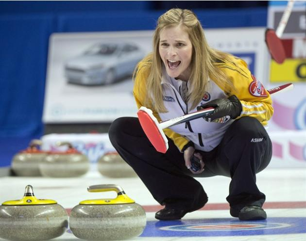 Manitoba skip Jennifer Jones calls a shot during gold medal curling action against Ontario at the Scotties Tournament of Hearts Sunday, February 24, 2013 in Kingston, Ont. Jones is one of the most suc