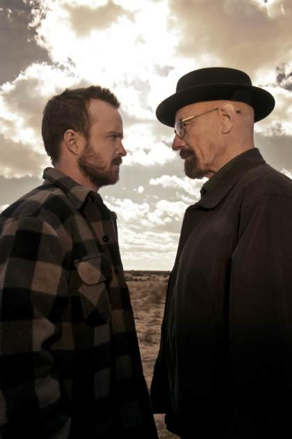 Aaron Paul as Jesse Pinkman and Bryan Cranston as Walter White in 'Breaking Bad' -- AMC