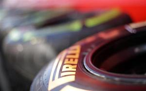 Pirelli tyres are seen at the Formula One racetrack in Monza