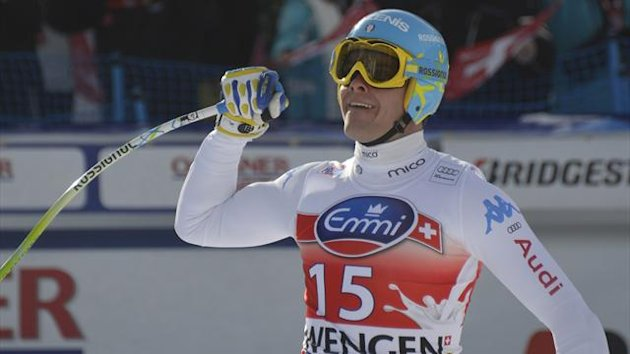 Christof Innerhofer of Italia reacts at the finish area of the Men's downhil race of the FIS Alpine Skiing World Cup (AFP)
