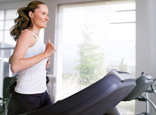 Woman running on treadmill, Jan 13, p98