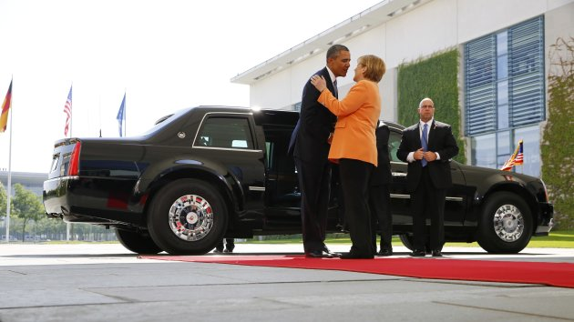 German Chancellor Angela Merkel welcomes U.S. President Barack Obama at the Chancellery in Berlin
