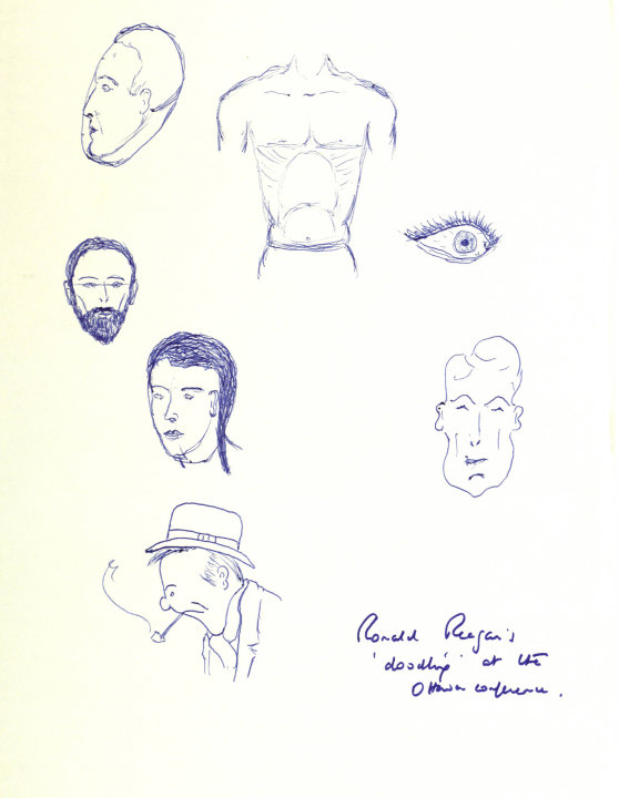 A page of ink drawings among personal papers from 1981 released Saturday March 17 2012, by the Thatcher Archive at Britain's Cambridge University.  Britain's Prime Minister Margaret Thatcher was so fa