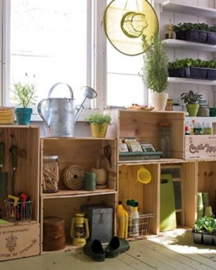 Stacked Crate Gardening Garage Storage