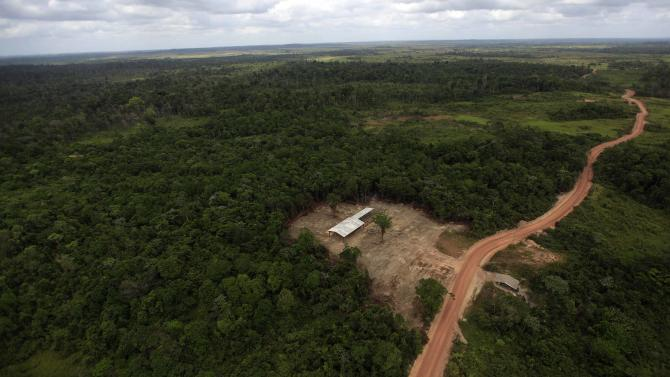 The construction site of an illegal sawmill is seen from a police helicopter in Nova Esperanca do Piria
