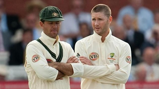 Ricky Ponting (left) is looking to defuse tension between himself and successor Michael Clarke.