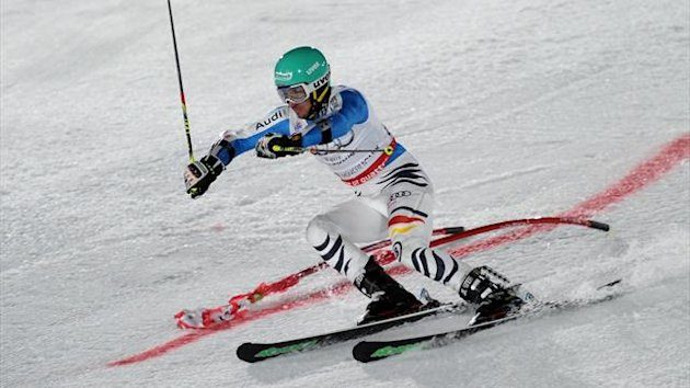 Germany's Felix Neureuther competes during the FIS Ski World Cup Parallel Slalom at the Olympiapark in Munich (AFP)