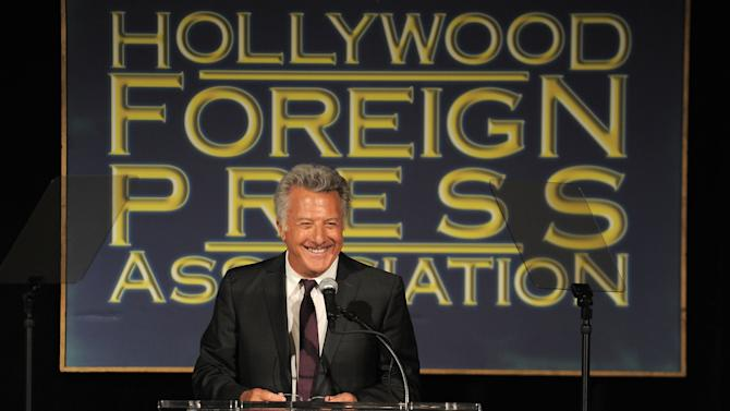Dustin Hoffman speaks at the Hollywood Foreign Press Association luncheon at the Beverly Hills Hotel on Thursday, Aug. 9, 2012, in Beverly Hills, Calif. (Photo by Jordan Strauss/Invision/AP)