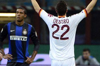 Inter 2-3 Roma (Agg. 3-5): Destro double helps set up Coppa final against city rival Lazio