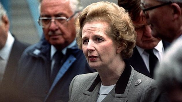 Margaret Thatcher at Hillsborough the day after the disaster (PA Photos)