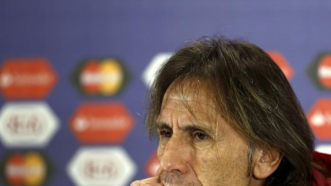 Peru's head coach Ricardo Gareca attends a news conference at Estadio Municipal Alcaldesa Ester Roa Rebolledo in Concepcion