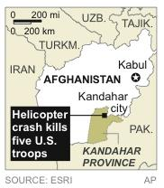 Map locates Kandahar city in Kandahar province, a where a helicopter crashed killed five U.S. troops