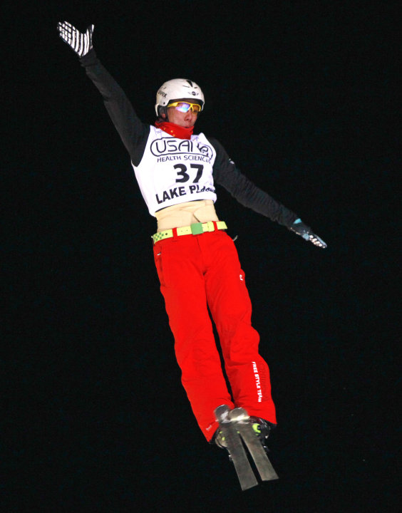 China's Jia Zongyang competes in the men's aerials World Cup freestyle skiing event in Lake Placid, N.Y., on Friday, Jan. 20, 2012. Zongyang won the event.(AP Photo/Mike Groll)