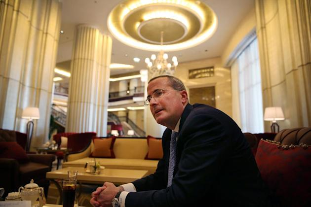 David C. Chavern, executive vice president and chief operating officer at the U.S. Chamber of Commerce speak during an interview with The Associated Press after a business conference in Abu Dhabi, Uni