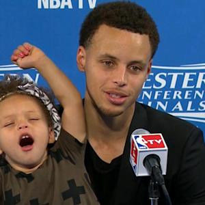 Stephen Curry's daughter steals spotlight during postgame press conference