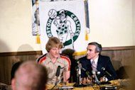 Bird signs to play with the Boston Celtics in 1979 at the Boston Garden in Boston, Massachusetts. (Photo by Dick Raphael/NBAE via Getty Images)