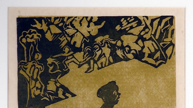 """ADVANCE FOR USE SUNDAY, NOV. 11, 2012 AND THEREAFTER - This undated image provided by the National Veterans Art Museum shows """"The Refugee"""" by Vietnam veteran and artist Richard Olsen. Olsen created the yellow-and-black linocut after returning home following a year's tour as an Army helicopter pilot with the 33rd Transportation Company in Vietnam. He came back in 1963, and the war in faraway Southeast Asia was not yet fully on America's radar, so producing these images was his way of sounding an alarm. """"It was like, 'Hey, you guys, there's a war going on,'"""" Olsen says. """"Why make pictures of flowers? Why not make pictures of war?"""" (AP Photo/National Veterans Art Museum, Richard Olsen)"""