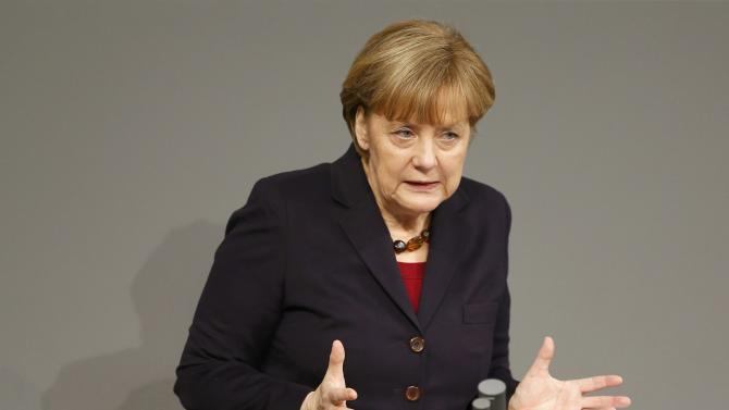 German Chancellor Merkel holds a speech during a session at the lower house of parliament Bundestag in Berlin
