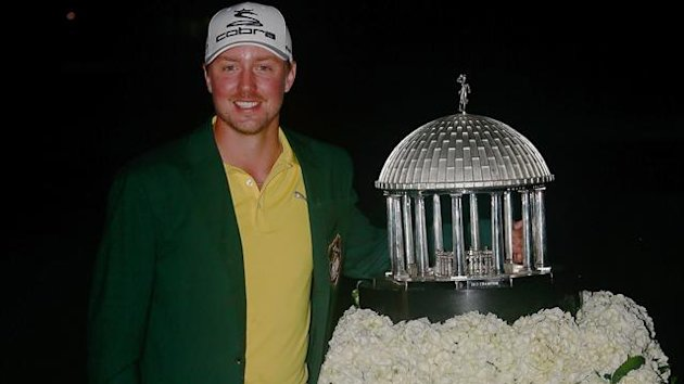 Jonas Blixt of Sweden poses with the trophy following his victory in the Greenbrier Classic at the Old White TPC (AFP)