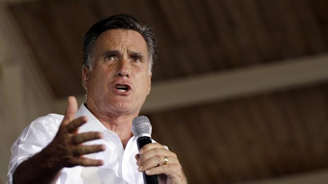 FILE - In this Aug. 11, 2012, file photo, Republican presidential candidate, former Massachusetts Gov. Mitt Romney, speaks during a campaign rally in Manassas, Va. (AP Photo/Mary Altaffer, File)