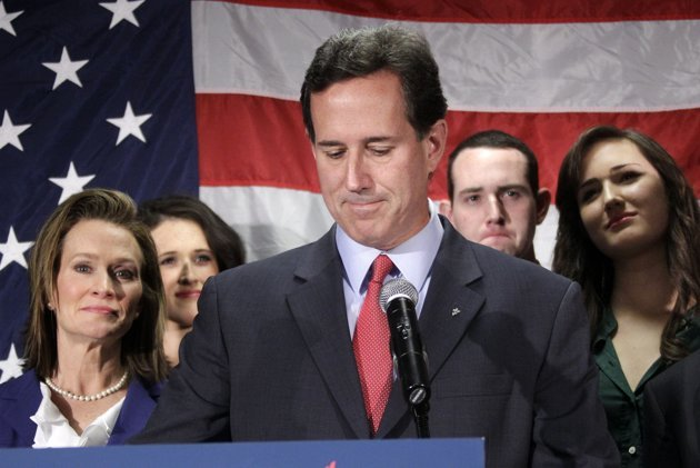 Rick Santorum tells supporters he is ending his presidential campaign. (AP Photo/Gene J. Puskar)