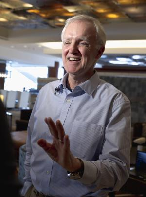 """In this photo taken Feb. 29, 2012, former Sen. Bob Kerrey speaks in Omaha, Neb., where he announced he would be seeking the Democratic nomination for the Nebraska seat he once held. The one-time decorated Navy Seal, Nebraska governor and two-term senator, who left Washington in January 2001, is undeterred about coming back to a fiercely divided Washington. """"But you tend to be more optimistic about being able to get something done about it when you're on the outside rather than on the inside. ... When you're out, there's a tendency to believe _ and I do _ that you can make a difference,"""" he said. (AP Photo/Nati Harnik, File)"""