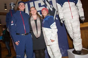 Here's Deb with Dylan Ferguson (US Aerials) and Heather McPhie (US Moguls). (Provided by Columbia Sportswear_