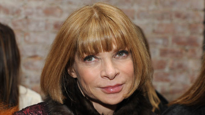 FILE - This Friday, Feb. 12, 2010 photo shows Vogue Editor-in-Chief Anna Wintour before the start of the Rag & Bone fall 2010 collection during Fashion Week in New York. Anna Wintour may be poised to follow in the footsteps of Thomas Jefferson, Ben Franklin and John Quincy Adams by becoming U.S. ambassador to England or France. Officials at the U.S. Embassy in London said they would not speculate on President Obama's eventual choice for a successor to Ambassador Louis Susman, who has announced plans to step down. (AP Photo/Diane Bondareff, file)